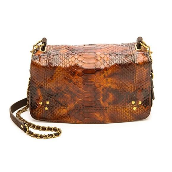 Jerome Dreyfuss Handbags - Bobi Tortue Python and Moka Cross Body Bag
